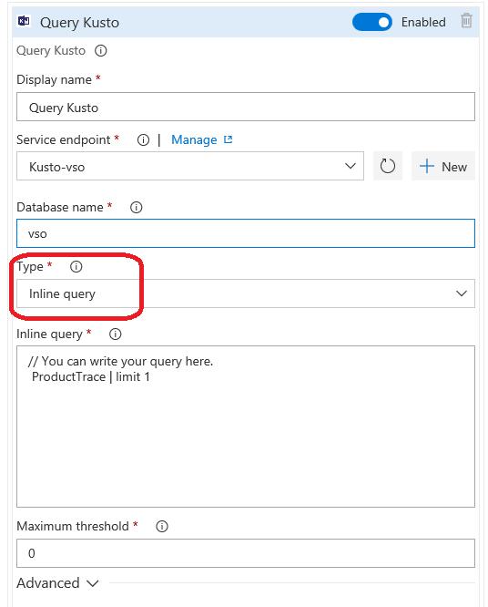 Kusto query inline